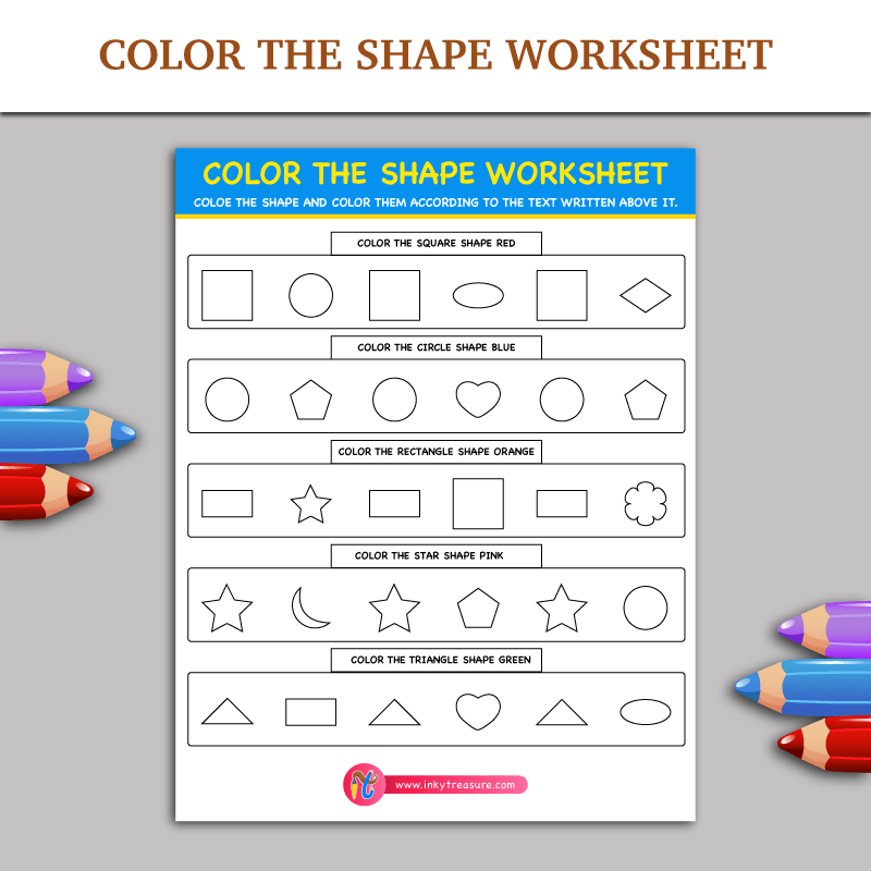 Color The Shape Worksheet | Free Printable Puzzles for children ...