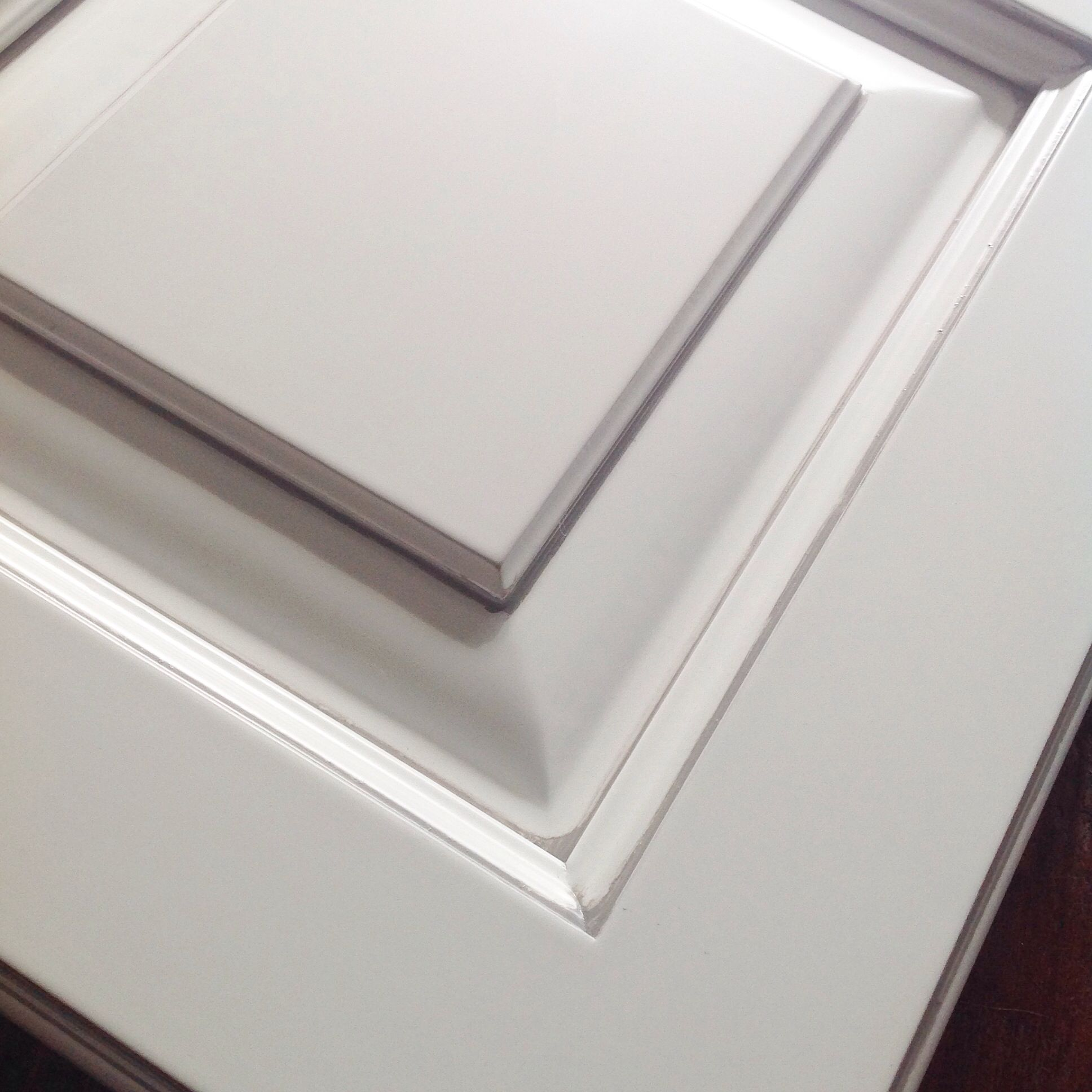 White Cabinets With Brown Glaze: Painted White Cabinet With Pewter Hand Glazing