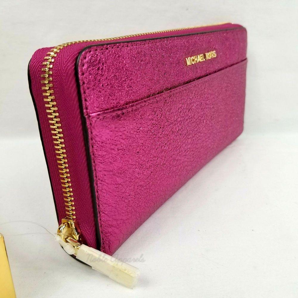 1d5288ea641722 Michael Kors Money Pieces Continental Zip Around Leather Wallet Ultra Pink  191935109231 | eBay