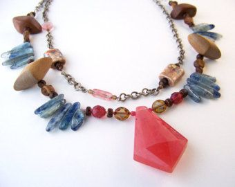 Layered Necklace, Red Coral, Raw Turquoise, New Native, Sparkly Bead Tubes, Quartz Gemstones, Art Fair Jewelry