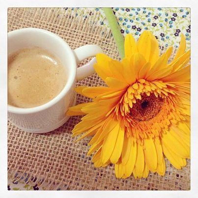 Café fresquinho e minha flor amarela