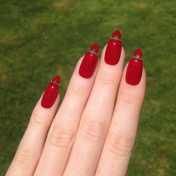 Stiletto Nail Art 2013: Floating Heart Red Stiletto Nails, Nail Designs, Nail Art