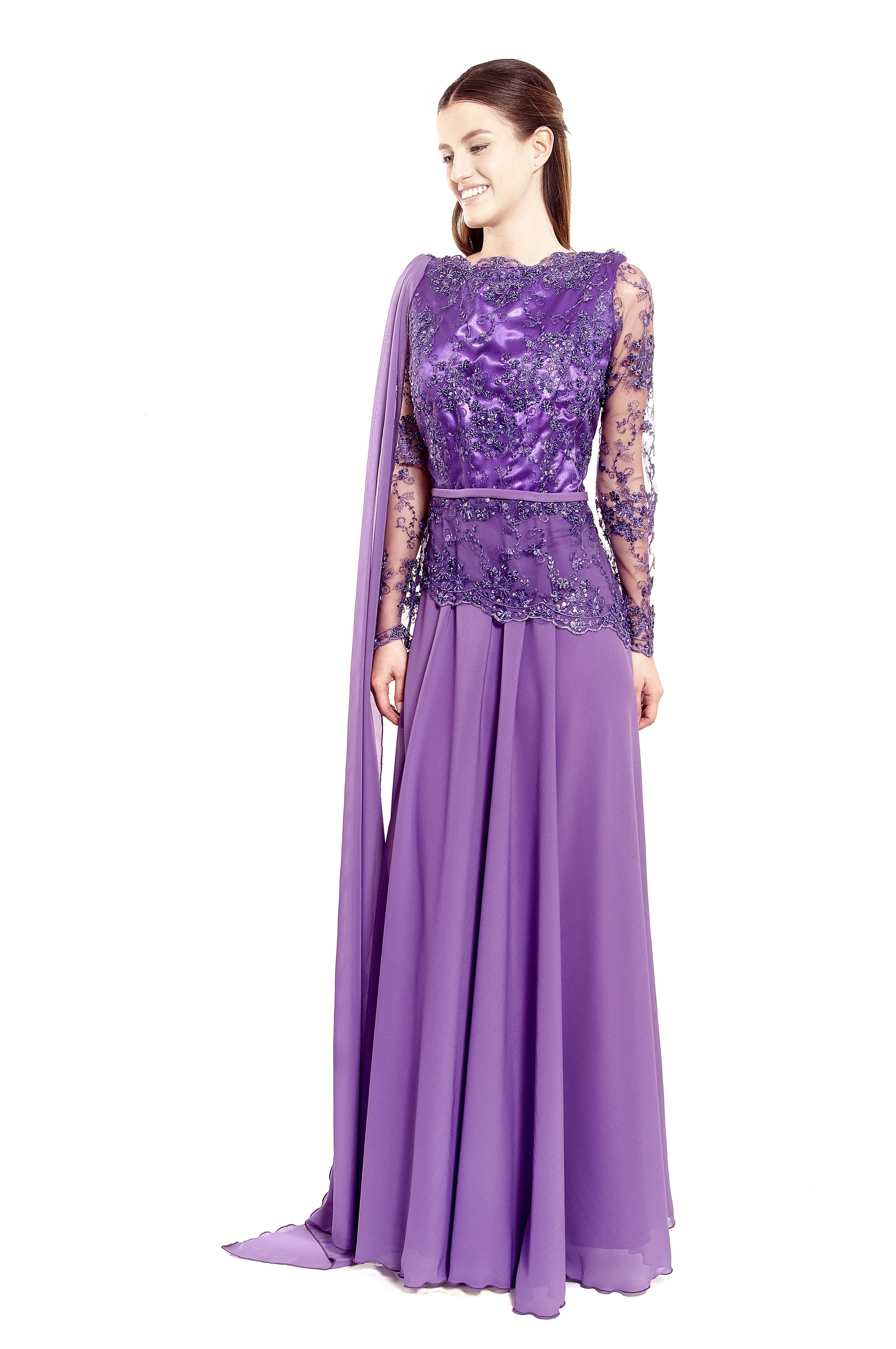 Vestido lila de gasa, con encajes | Vestidos de Fiesta Largos ...