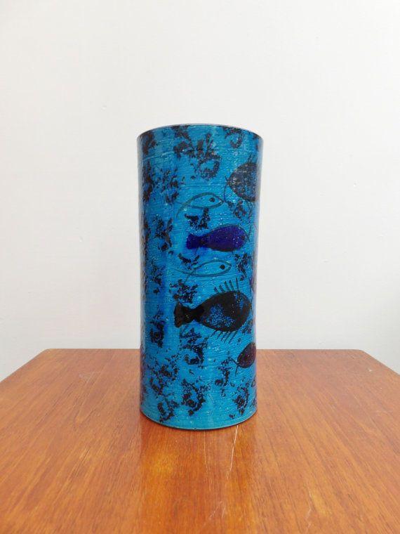 Bitossi Pottery Pesce Fish Blue Vase By Aldo Londi 1960 S Retro Mcm Pottery Art Vintage Pottery Italian Pottery
