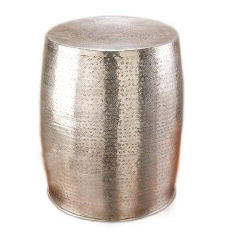 Superior Aluminium Hammered Drum Stool Or Occasional Table H:46 X 34cm: Amazon.co. Metal  Coffee ...