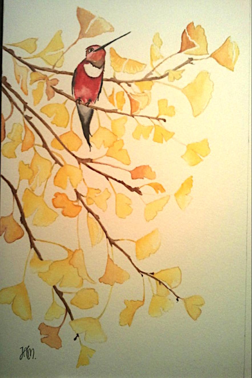 Bird on ginkgo tree - watercolor | One day | Pinterest | Watercolor