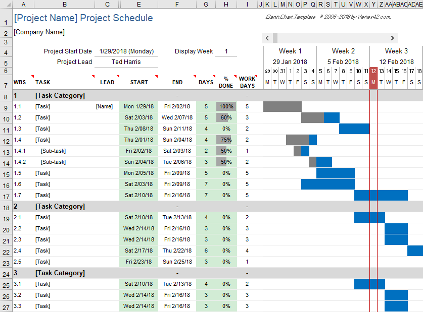 Download  free gantt chart template for microsoft excel simple tool creating and managing project schedules also rh pinterest