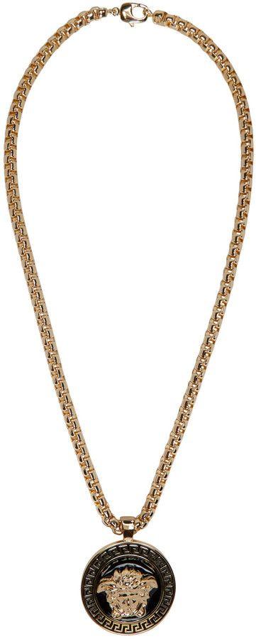 Versace Gold   Black Medusa Chain Necklace   Mens Jewelry   Versace ... b7bd095d028