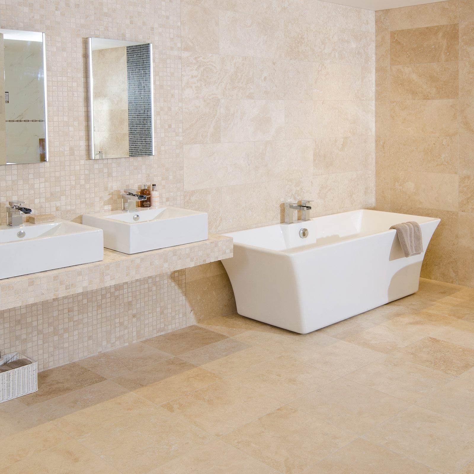 Classic Beige Rectangular Travertine Tile Beige Bathroom Trendy Bathroom Bathroom Design