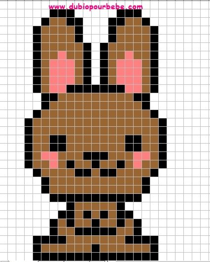 mod le lapin kawaii perles hama pixel art lapin. Black Bedroom Furniture Sets. Home Design Ideas