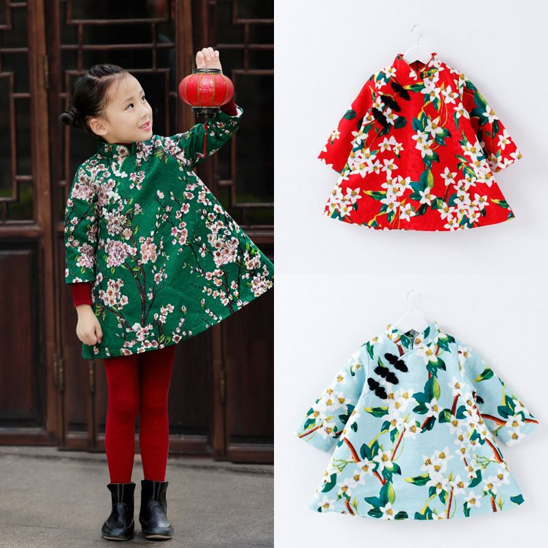 dc38a4b01dd Chinese Style Traditional Girls Winter Dress Child Tang Suit Kids Printing Cheongsam  Baby Princess Dresses Robe Baby Qipao-in Dresses from Mother   Kids on ...
