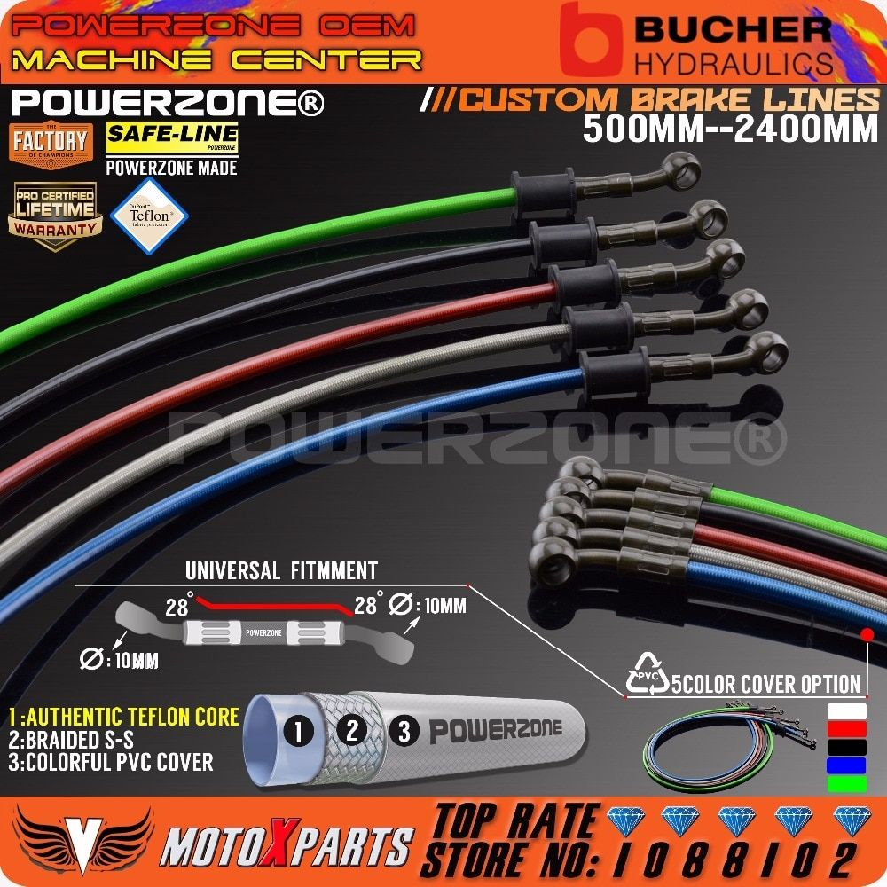 Motorcycle Dirt Bike Braided Steel Hydraulic Reinforce Brake Line Clutch Oil Hose Tube 500 To 2400mm Universal Fit Racing Mx Https Shopinize Co Harley Davidson