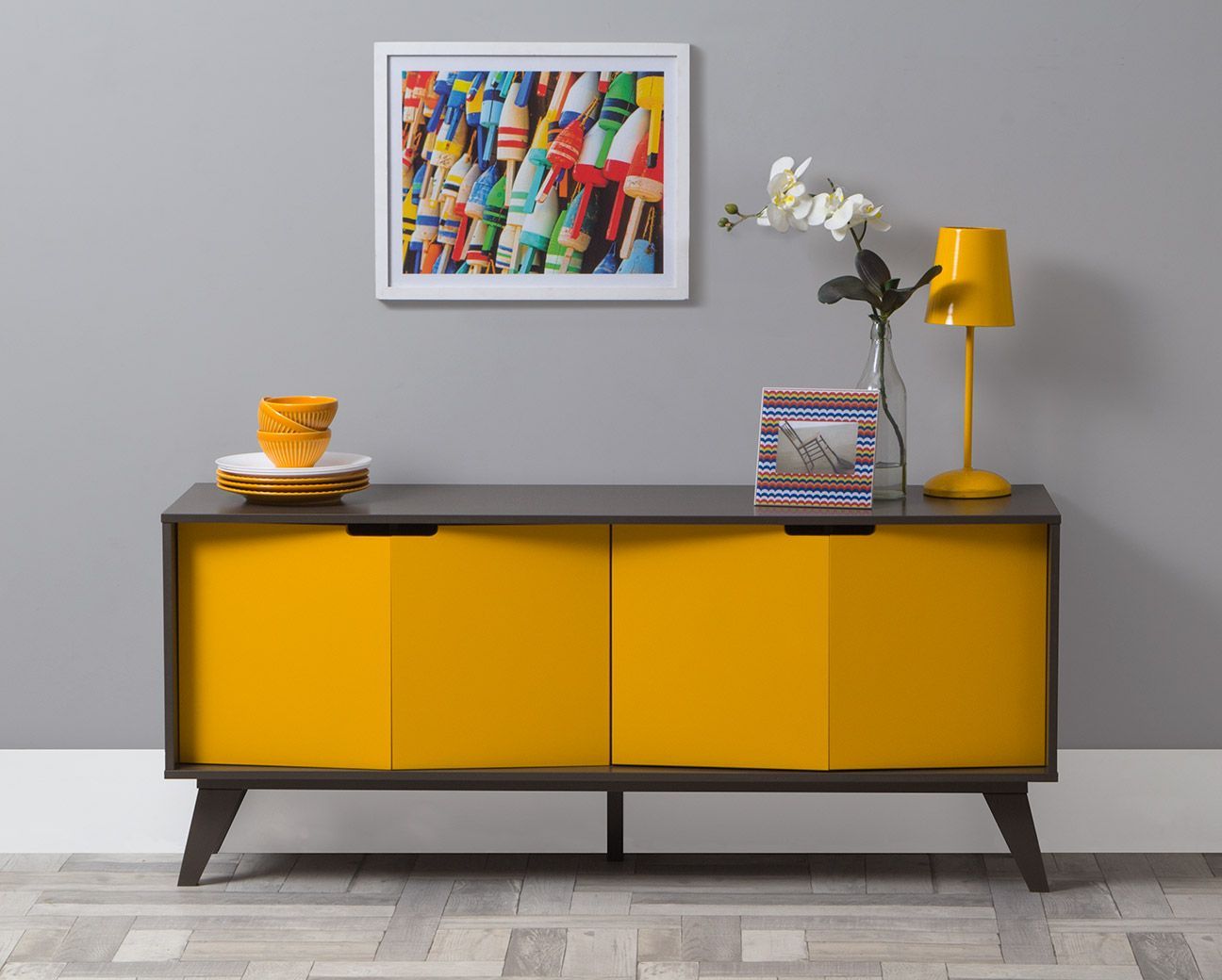 Adesivo De Madeira Para Moveis ~ Buffet Vértice 4 Portas Amarelo Aparador, Portas