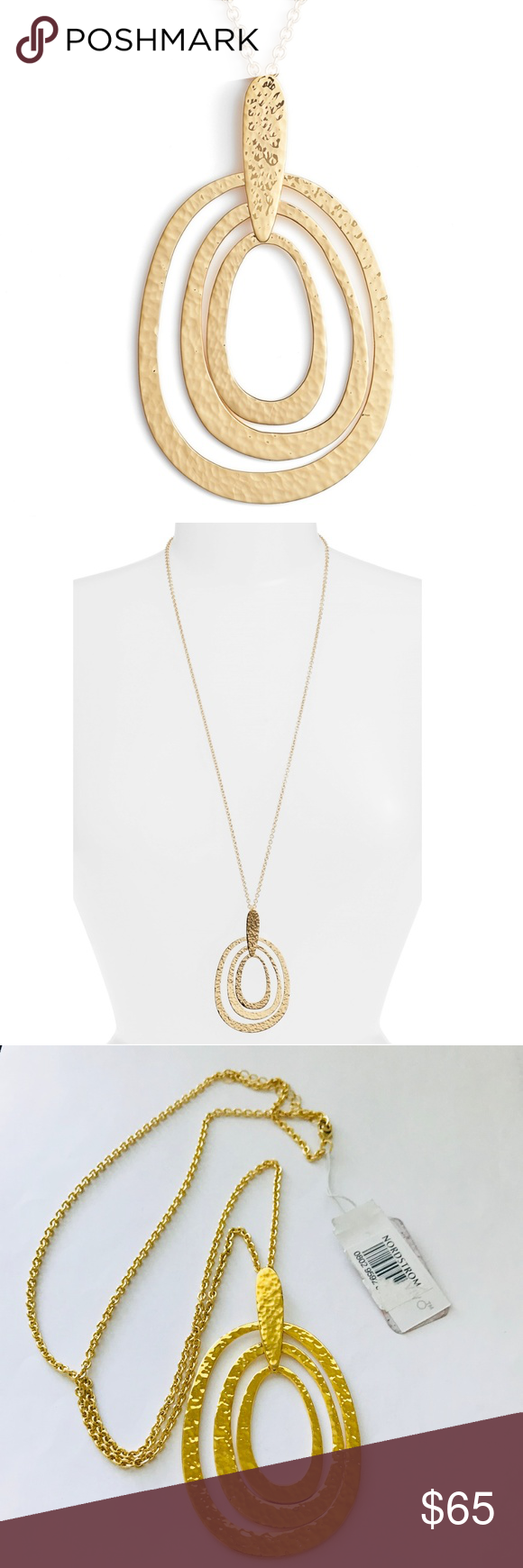 Argento vivo k gold plated long pendant necklace oval pendant