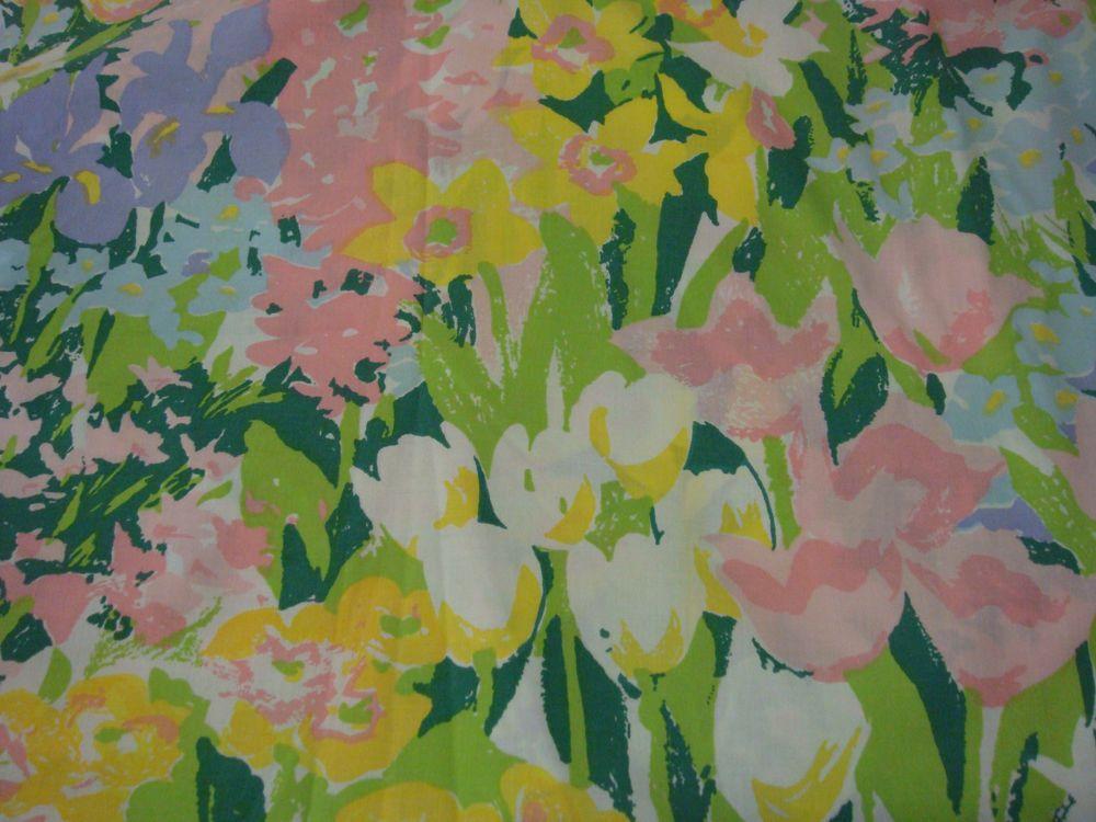 Vintage Green Tulip Wild Flower TWIN FLAT bed sheet