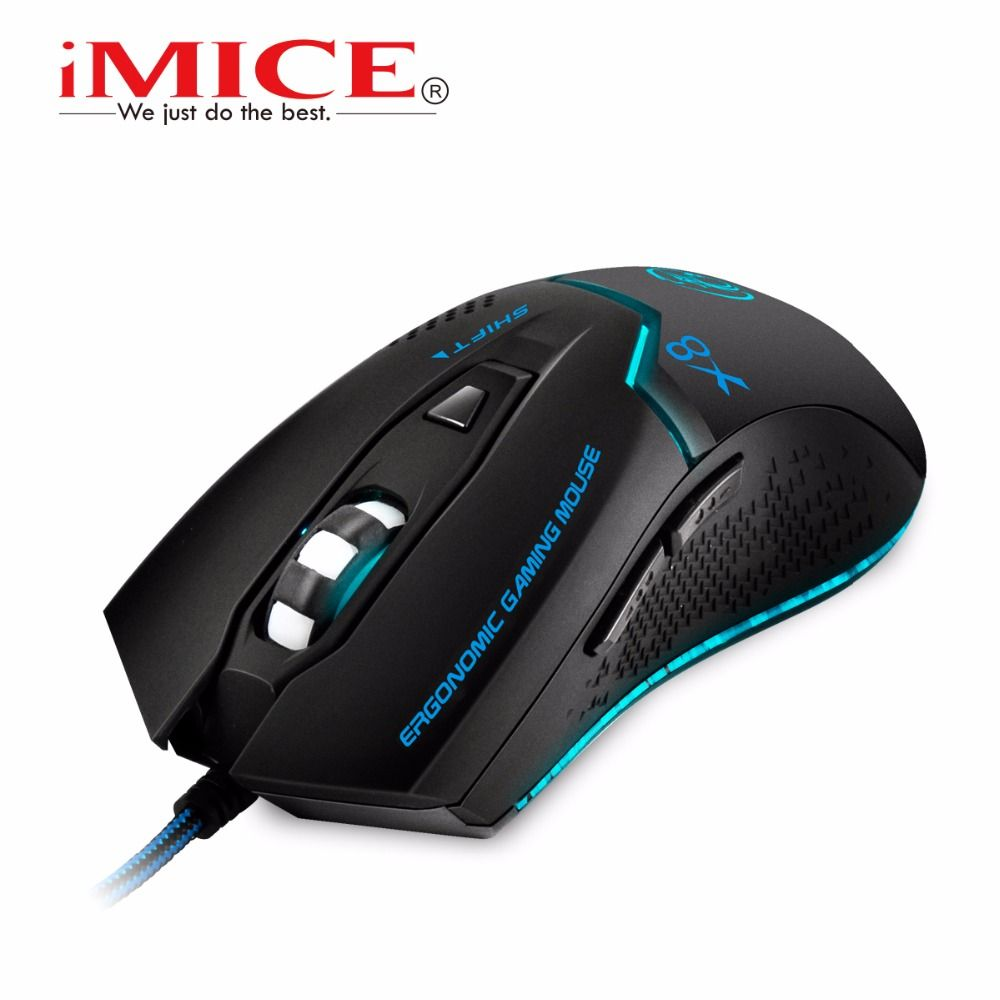 Gaming Mouse 6 Button USB Wired 2400 DPI Optical Office LED Mice For Laptop PC