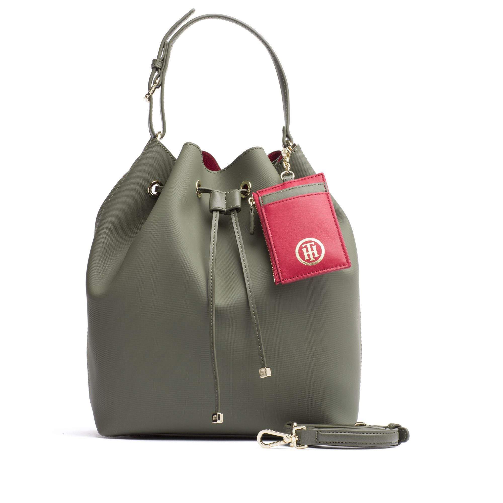 a21dfda1a Tommy Hilfiger Signature Mini Bucket Bag - Military / Scooter Red Os ...
