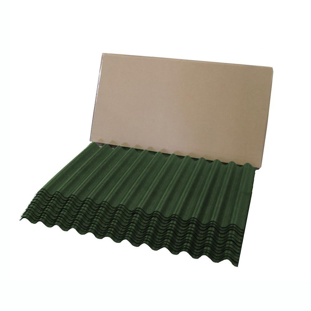 Ondura 4 25 Ft Jumbo Shingle Green Corrugated Shingle Asphalt Roof Panel 75 Sq Ft Per Bundle 2354 The Home Depot Roof Panels Shingling Brown Roofs