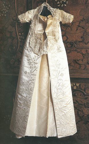 1533: Princess Elizabeth I's christening gown, sewn and embroidered by her mother, Anne Boleyn