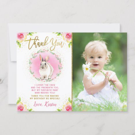 Some Bunny Pink Floral Gold Glitter Photo Birthday Thank You Card #UniqueGifts #BirthdayGiftsUnique #PersonalizeGifts #ShopCustomizables