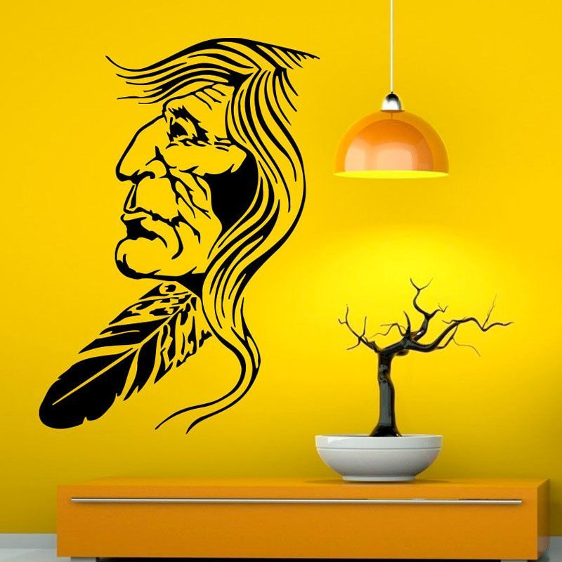 Native American Vinyl Art Wall Stickers (Old Indian Man) | Products ...