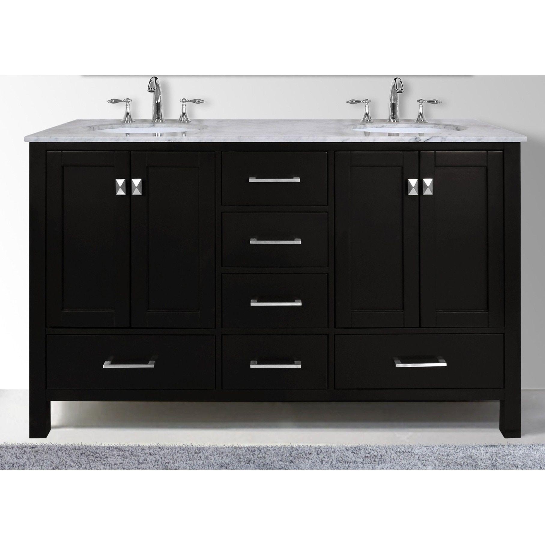 Stufurhome 60 Inch Malibu Espresso Double Sink Bathroom Vanity With Carrara Marble Top