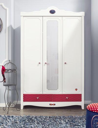 Cilek Strawberry Kleiderschrank mit LED - Beleuchtung         - Kostenloser Versand innerhalb Deutschlands! -       Ein traumhaft gepunkteter Kleiderschrank mit großem Spiegel und beleuchteter Kleiderstange. In dieses Modell... #kinder #kinderzimmer #kleiderschrank #cilek