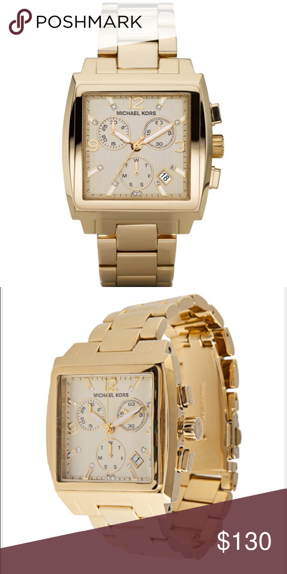 17859d266d858 MK 5330 Watch Gold tone stainless steel case and bracelet. Fixed bezel.  Champagne dial