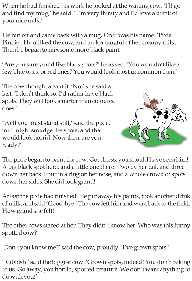 Worksheets Story For Grade 3 grade 3 reading lesson short stories the spotted cow 2