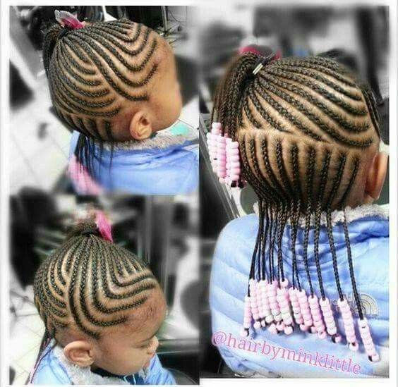 Little Girl Natural Hair Half Up Half Down Braided Cornrows
