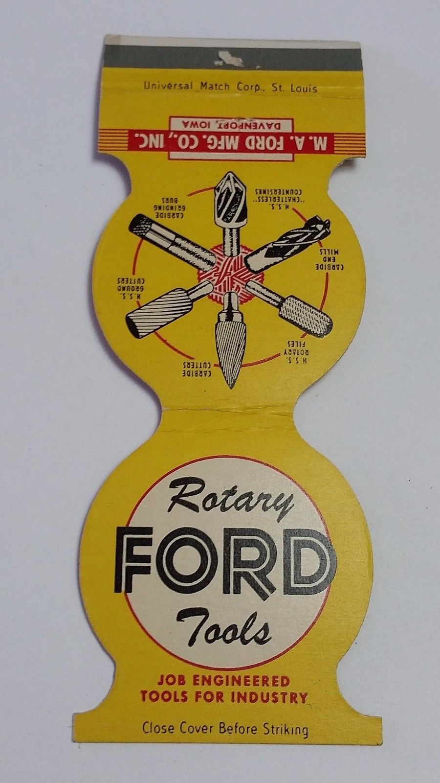 M.A. Ford Mfg. Co. Davenport, IA. FORD Rotary Tools #frontstriker #contour #Jewelite #matchcover  To Order your business' own branded #matchbooks or #matchboxes GoTo: www.GetMatches.com or CALL 800.605.7331 To Get The Process Started Today!