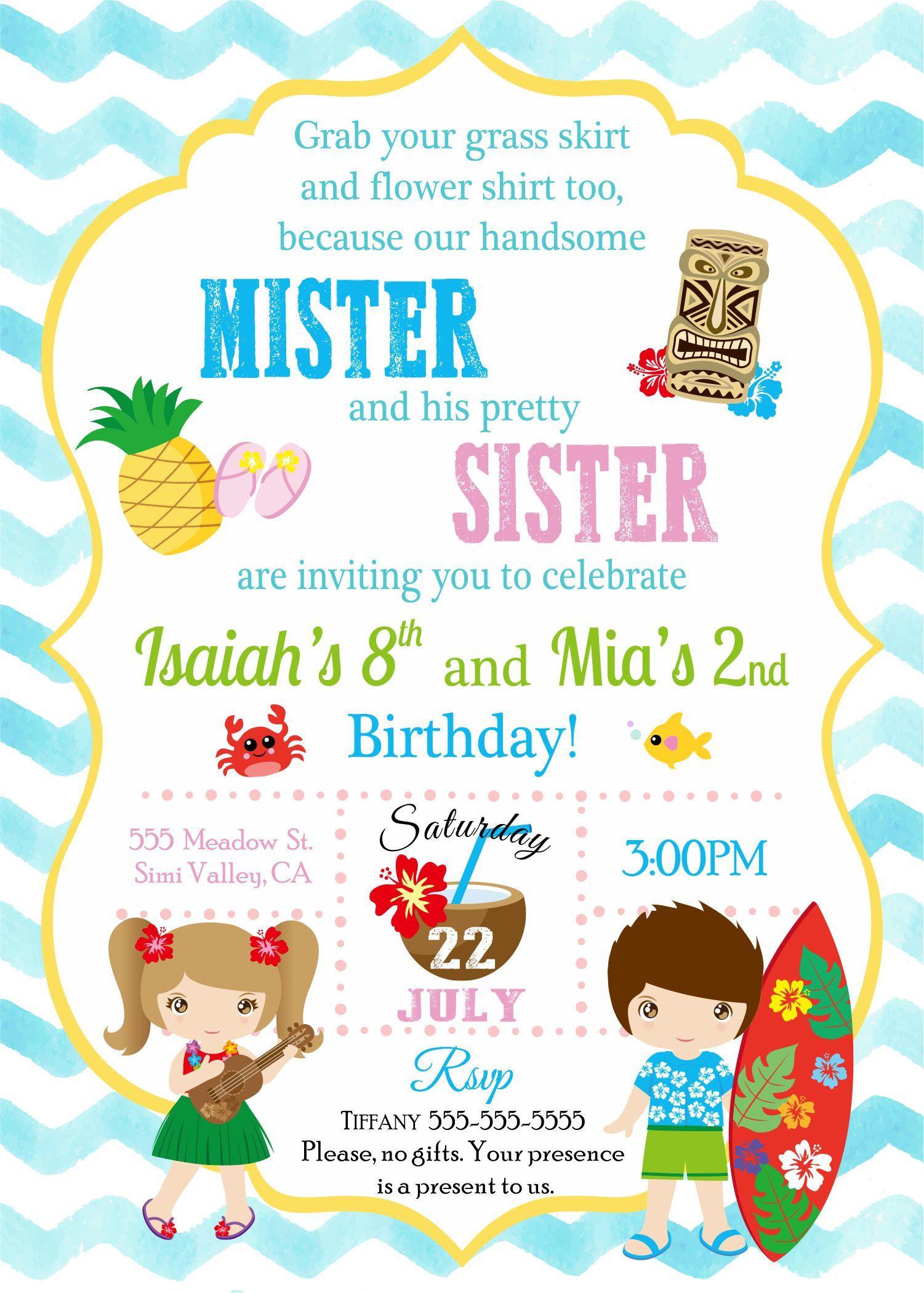 Digital Brother And Sister Luau Birthday Invitation By PrintedFun On