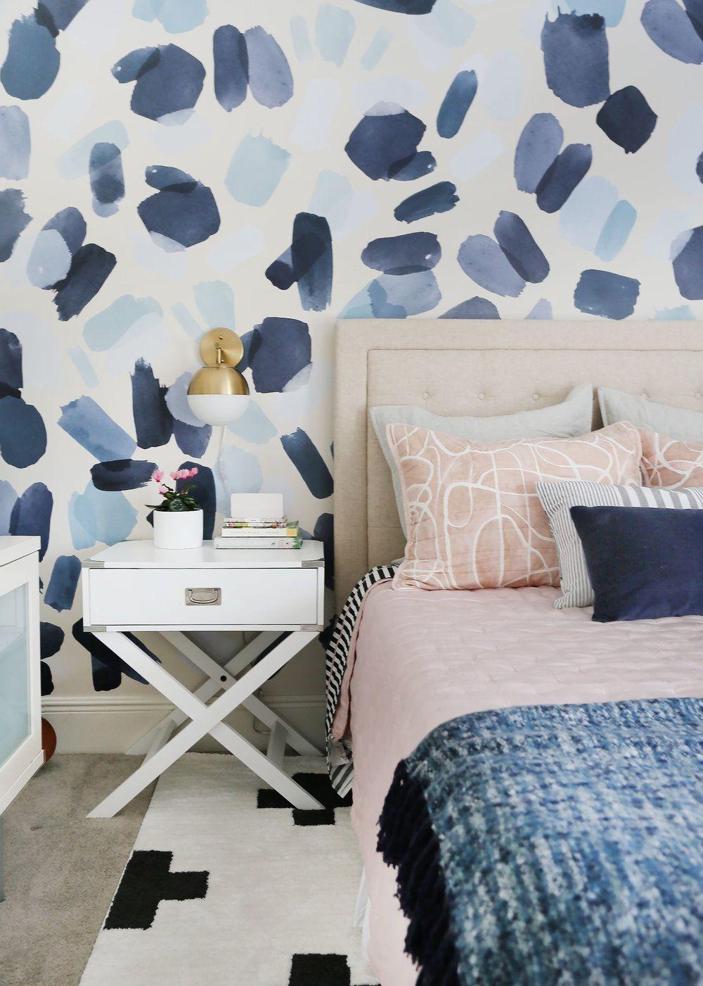 Pin On Olivias Bedroom Blue wallpaper room inspiration