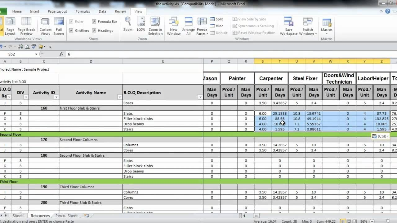 Manpower Planning Excel Template
