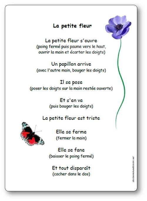 Paroles Illustrees De La Comptine La Petite Fleur Jeu De Doigts