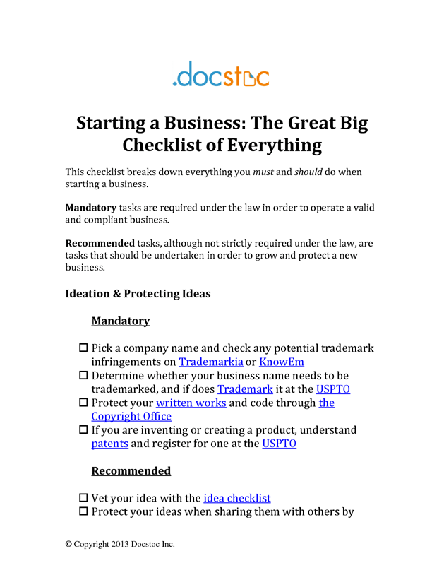 starting a business the great big checklist of everything mutt