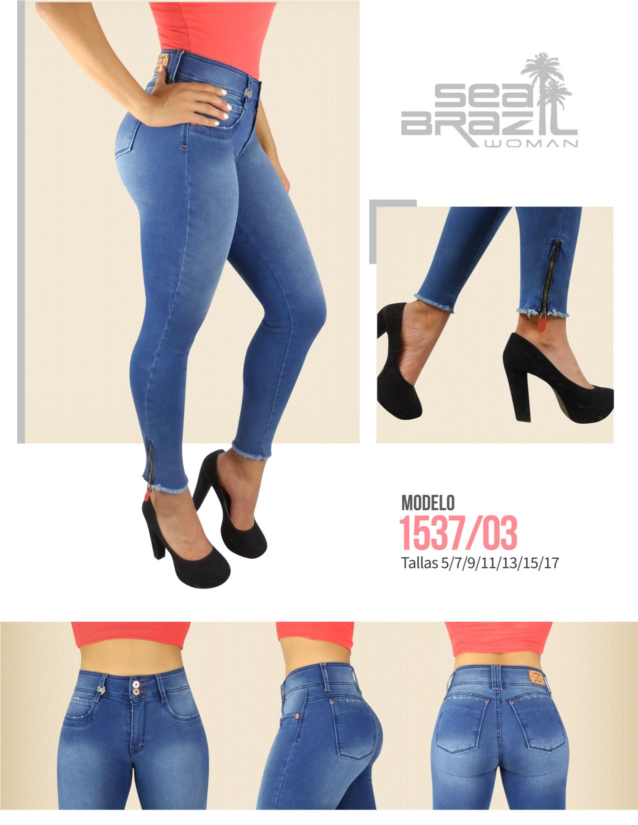 1f547b1f82  Jeans con mezclilla azul celeste con  zippers en los tobillos.   SeaBrazilJeans