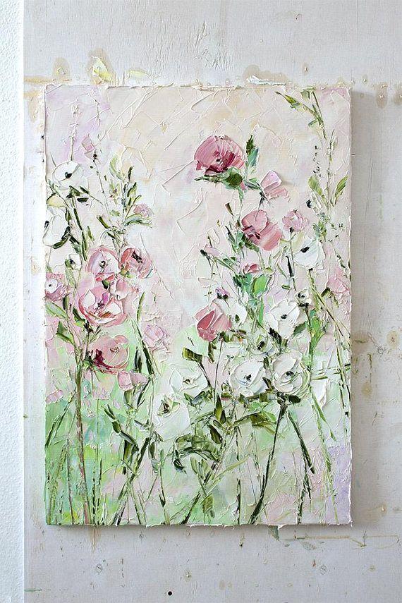 C Pink White Green Painting Oil Flower Colorful Fl Landscape Large Wall Art Dusky Dusty Pale Bohemian Palette Knife Impasto Abstr