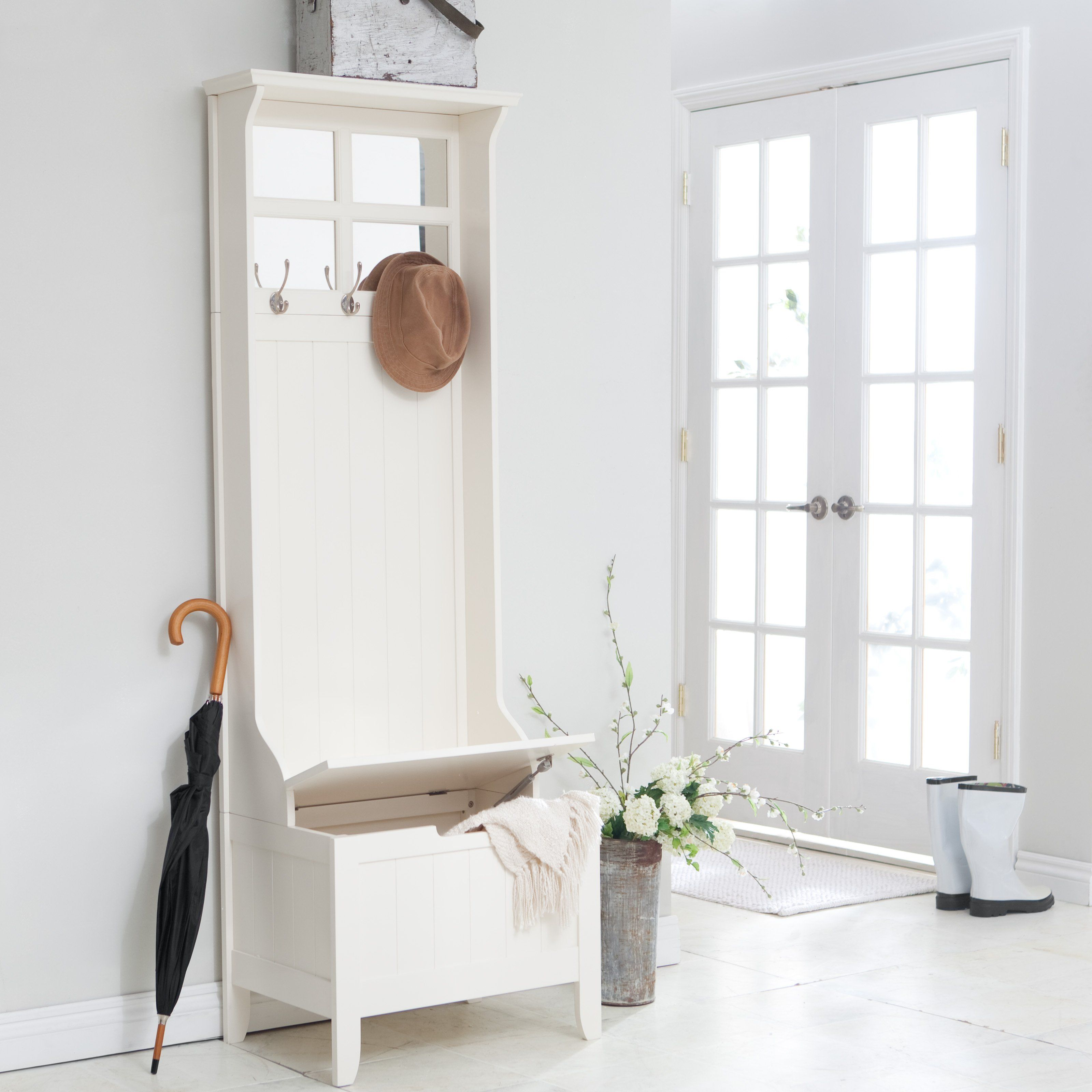Hallway storage rack  Have to have it Richland Mini Hall Tree  Antique White   For the