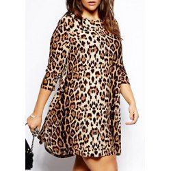 Fashionable Round Neck Leopard Print Plus Size 3/4 Sleeve Dress For Women 8% Coupon TDCPY01