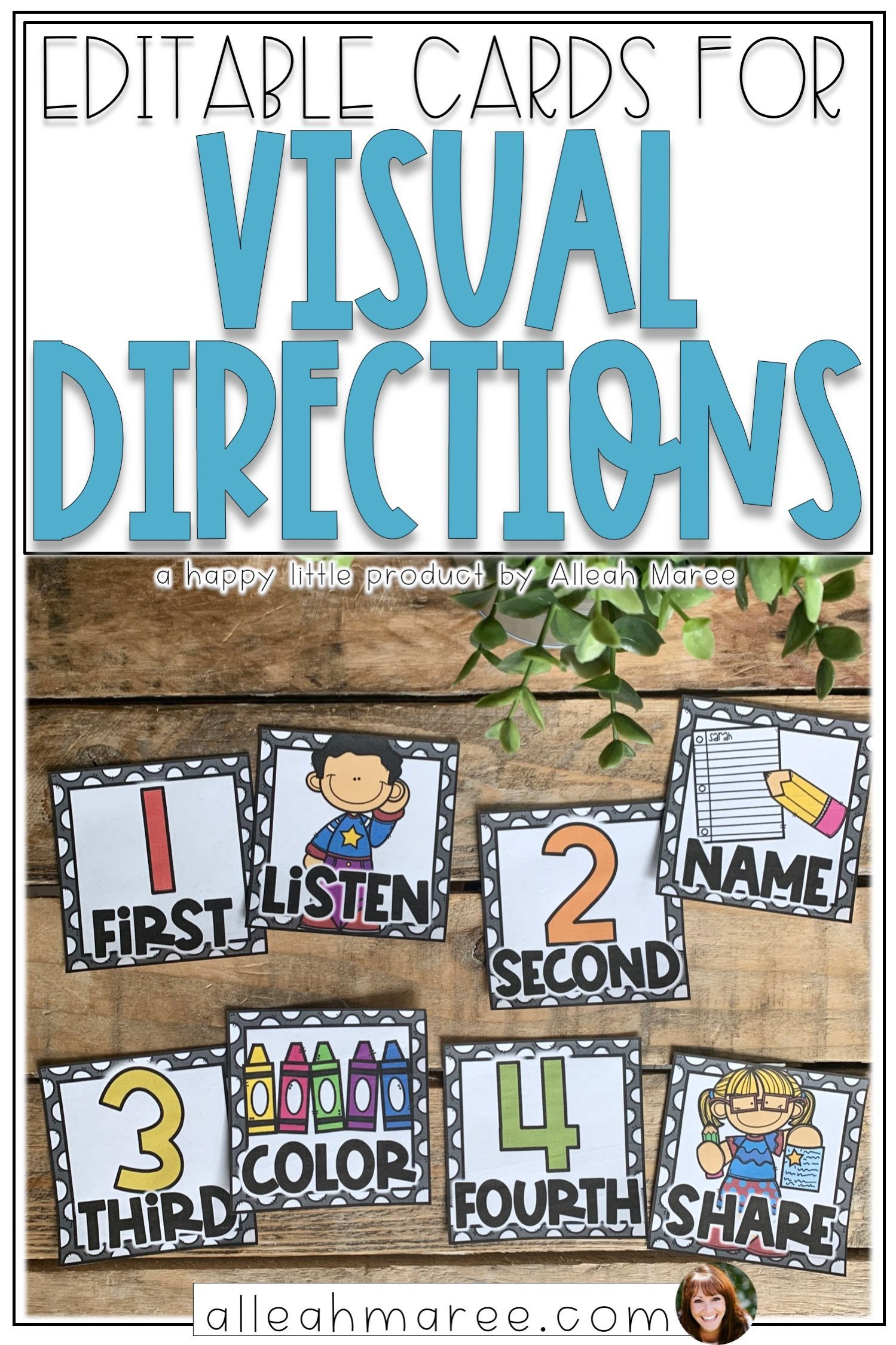 Editable Visual Directions Cards
