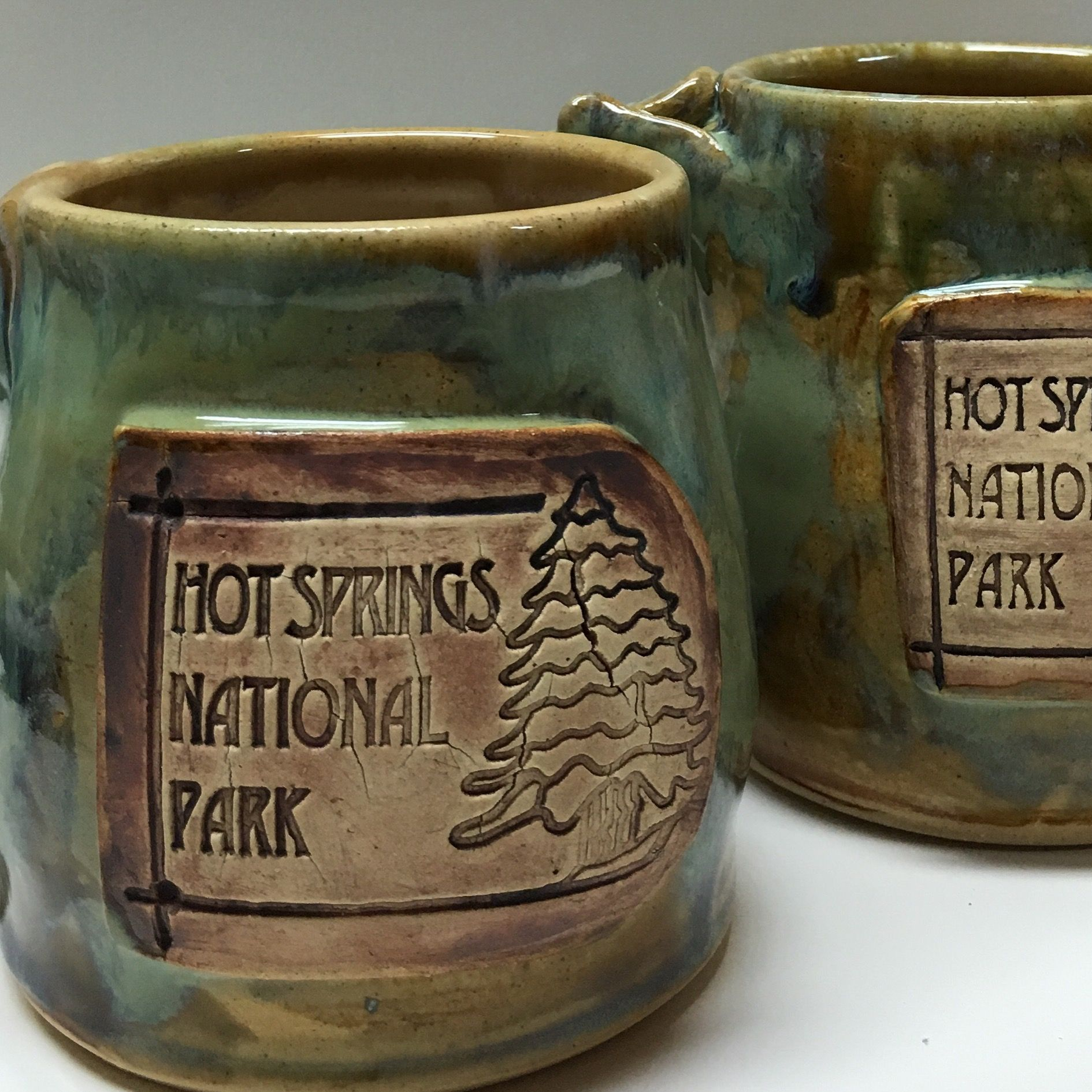 afd363adfef Stoneware mugs with custom logo custom designed for state and pride in hot  springs Arkansas