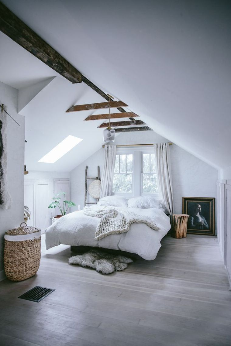 Minimalistisches Dekor Schlafzimmer-Eltern-Balken-Holz-Parkett