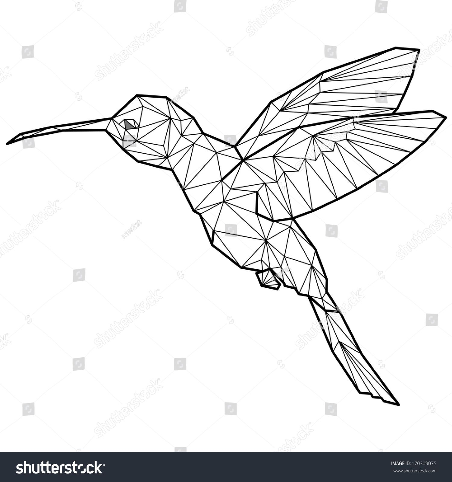 hummingbird origami (geometric style). colibri ... - photo#47