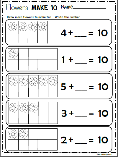 Free Spring Math Worksheet Make 10 Made By Teachers Spring Math Worksheets Spring Math Spring Math Activities