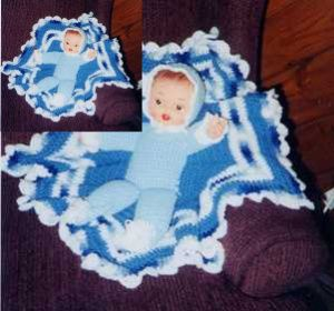 Vintage Crocheted Doll Baby in A Blanket Pattern by LynnJ AKA LadyWillow (pdf)