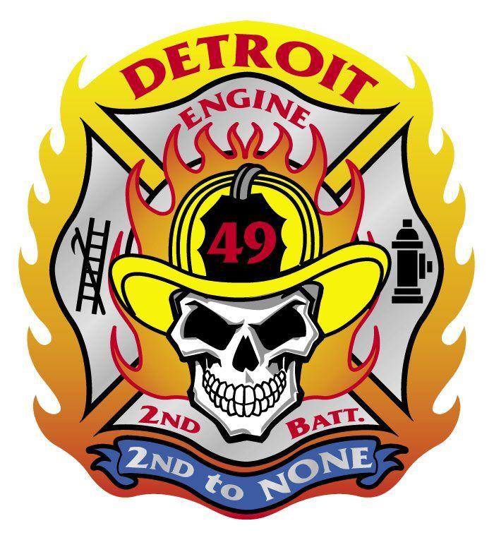 Detroit Fd Engine 49 Detroit Fire Patch Skull Fire Badge