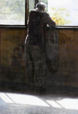 Rear view of an elderly / Oil on canvas, 2008 / 162 x 112 cm (63.8 x 44.1 inch)