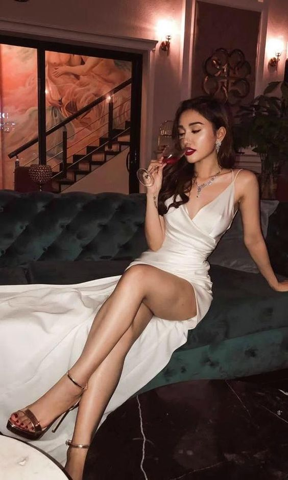 Silk Satin White Long Formal Prom Dresses with Sid