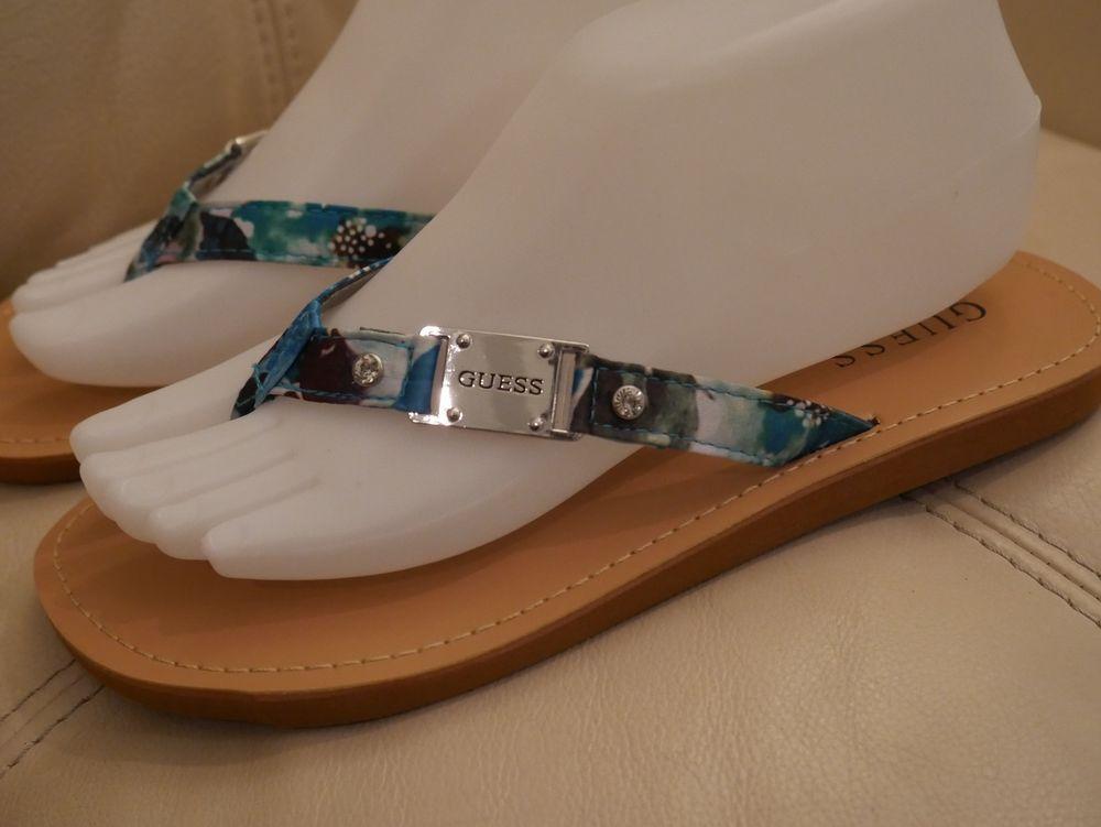 666730c52 NEW WOMEN S SILVER GUESS FLIP FLOP SANDALS BLUE GREEN RHINESTONE FABRIC  7